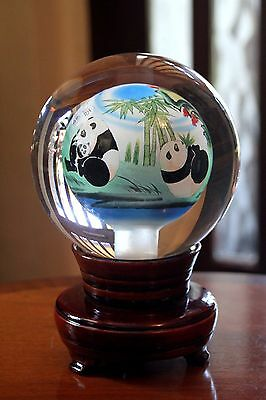 Chinese Inside Hand Painted Crystal Ball  Panda Bears on   Rotating  Wood Stand