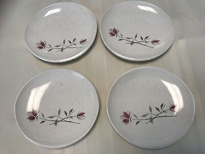 Set Of 4 Franciscan Ware Duet Rose Bread And Butter Plates Mid-Century