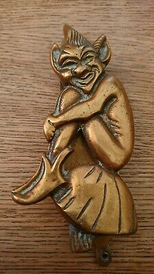 Large Antique / Vintage Brass Lucky Pixie / Door Knocker - 5.5""