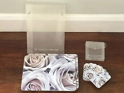 Ian Winstanley pale pink and lilac rose design placemats and coasters, EUC