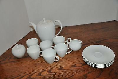 Vtg 14 Pc White Porcelain Tea Set Demitasse Cup Saucer Teapot Cream Sugar