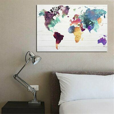 Colourful Retro Colorful World Map Canva Painting No Frame Wall Display T2