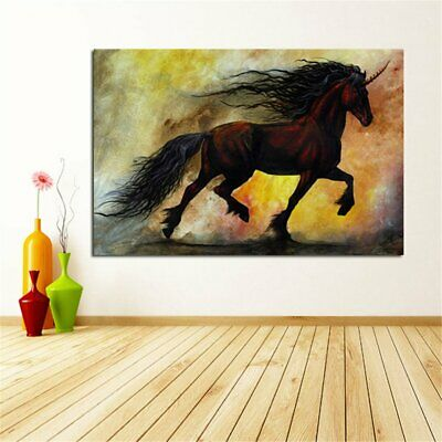 Colourful Retro Oil Paint Style Horse Canva Painting No Frame Wall Display T2
