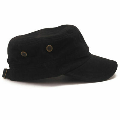 New Cool Black Unisex Adjustable Classic Army Cadet Military Flat Top Hat Cap