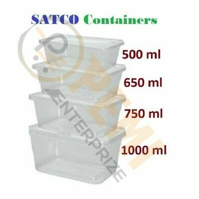 Satco Plastic Container + Lids Takeaway Microwave Freezer Safe-For Food Storage