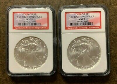 Two 2006 NGC MS69 American Silver Eagle $1 Coins - No Reserve