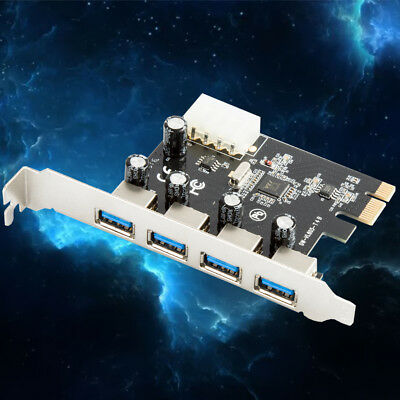 4port PCI-E USB 3.0 carte d'extension PCI Express HUB 5 puissance Gbps4pin HQ