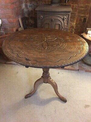Beautifully Carved Antique Round Side Accent Pedestal Table Circa1700 1800