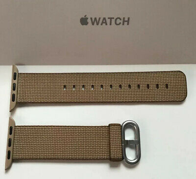 GENUINE APPLE WATCH WOVEN NYLON 38mm 40mm Toasted Coffee / Caramel Silver Buckle
