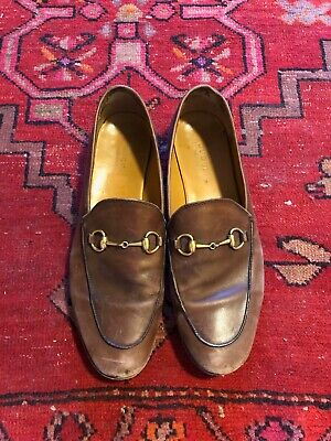 78d3e32c9 GUCCI - BROWN Jordaan Horsebit Leather Loafers, Size 39 - $78.00 ...