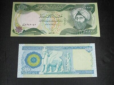 $10000 Iraqi Dinar Note Plus $500 Note