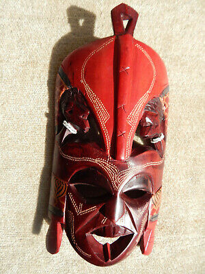 """Carved African Wooden Mask Tribal Wall Mask 10"""" x 5"""" African Wall Art Red Mask"""
