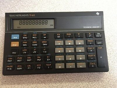 Texas Instruments TI-65 Technical Analyst Calculator VINTAGE TI65 ITALY 1986