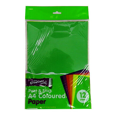 A4 Coloured Peel and Stick Paper - 12 Sheets, 6 Assorted Colours