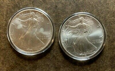 Two American Silver Eagle Coins; 1993 & 1995; 2 Troy oz Bullion Lot - No Reserve