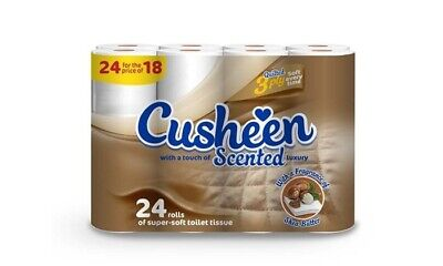 24 Cusheen 3Ply Quilted Shea Butter Scented Soft Toilet Rolls - Lowest On Ebay