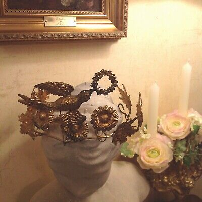 Antique Rare Jewelled 19thC French Tiara Wedding Crown Gilded Metal Flying Dove