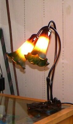 Vintage Art Deco Style / Tiffany Style Lily Pad Table Lamp, Fully Working