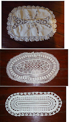 LOT DE TROIS NAPPERONS ANCIENS  set of 3 old doilies