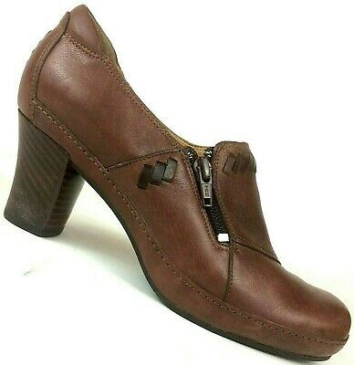 205bc52f23caa Clarks Artisan Brown Leather Boots Booties Heels Shoes Zipper Womens US 6.5  M