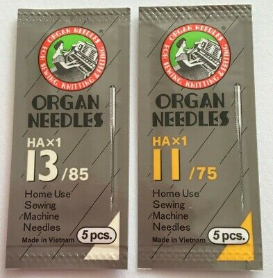 2  Packets of Organ Universal Domestic Sewing Machine Needles 11/75 & 13/85