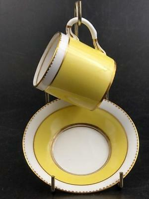 Coffee can and saucer new Norfolk Pottery Lawleys stoke yellow with gold gild