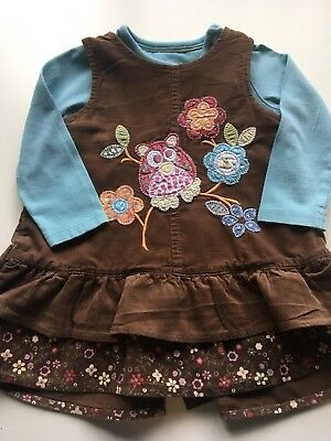 Baby Girls Next & Mothercare Brown Corduroy Dress Long Sleeved Top, Age 3-6 Mth