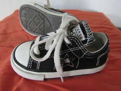 fa25bfd5abde CONVERSE ONE STAR Black Toddler Infant Size 5 Sneakers Lace-Up Baby Shoes