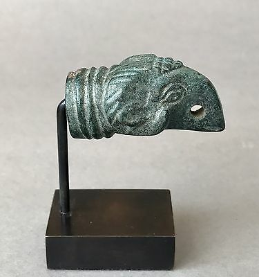 Well Preserved Ancient Roman Bronze Ram Head Finial Figure Figurine