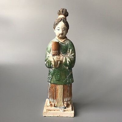 Large Chinese Ming Dynasty Green And Honey Glazed Terracotta Procession Figure