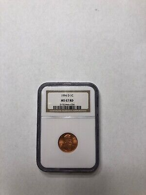 1994 D 1c LINCOLN CENT NGC MS 67 RD