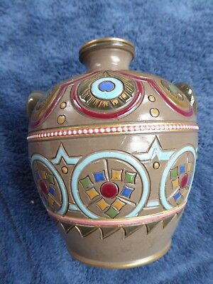 Sarreguemines Aesthetic movement enamel emaux pottery vase arts and crafts
