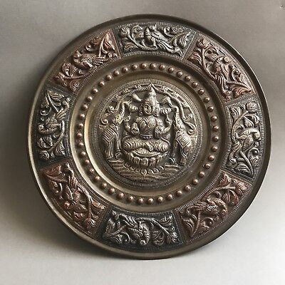 Vintage Indian Copper Brass & Silver Plaque With Buddha & Two Elephants On Sides
