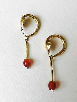 Pair Of Roman Gold Earrings With Carnelian Beads, Elegant Jewellery