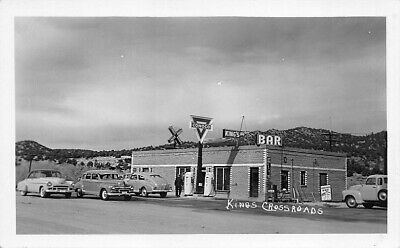 Kings Cross Roads NC Conoco Gas Station Restaurant Old Cars Real Photo Postcard