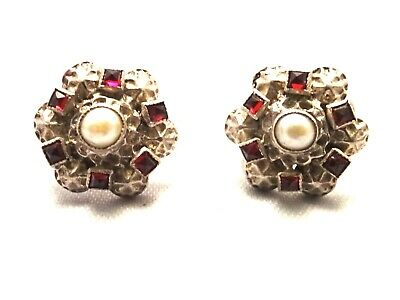 Pair Of Antique Victorian Sterling Silver Pearl & Garnet Earrings c1890.