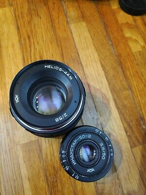 2x Vintage Camera Lens - Helios 44M and Industar 50-2 f3.5-50