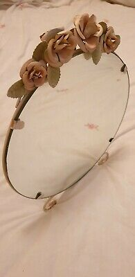 Vintage Table Mirror With Flowers