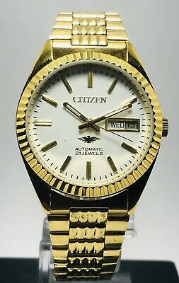 38ffcdc6d Vintage Citizen Automatic 21 Jewel Gold Plated Day Date Men's Wrist Watch