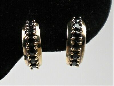 87fefaf24 Beautiful Black Sahhpire Gold Plated Sterling Silver Hoop Earrings 18mm  (E0029)