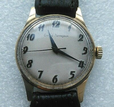 """Gents Mechanical Vintage Wrist Watch 9ct Solid Gold """"Girard-Perregaux"""""""