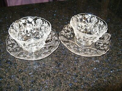 Set of 2 Vintage Cambridge Rose Point Crystal Cups and Saucers Style #3900 Clear