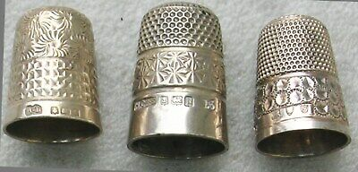 3 Antique Silver Hallmarked Thimbles  Ex Condition ,unusual  Pretty Patterns