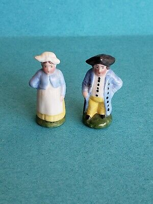 Antique All Bisque Miniature Dollhouse Colonial Couple Figurine 1.5 inches tall