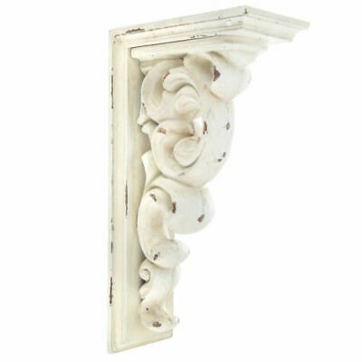 Antique Style Set of 2 Corbel Wall Brackets Large Distressed White Wood Corbels