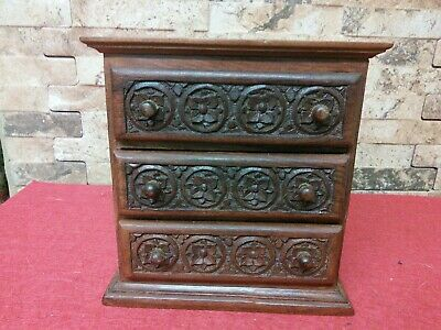 Vintage Miniature Wooden Chest Of Draws   Fabulous Condition