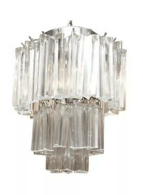 Vintage Mid Century 1960's Chandelier Venini Italian 3 Light 3 Tier Glass