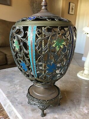 Antique Cloisonne Carving Very Detailed And exclusivo Enamel With Flower Lamp