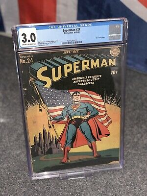 Superman #24 (1943) CGC 3.0 Cream To Off-White Pages Classic Flag Cover! Golden