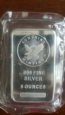 Sunshine Mint 5 Oz .999 Silver Bar In Mint Plastic With Security Feature